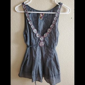 Free People Sleeveless Embroidered Floral Tie Top